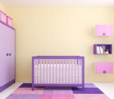 紫色优雅儿童房效果图图片