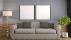 简洁现代客厅沙发盆景效果图素材