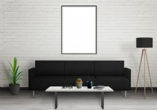 现代客厅黑白简约效果图