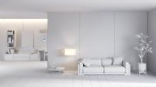 简约白色客厅家装效果图