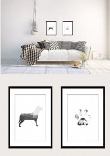黑白几何狗和脚印风景现代装饰画