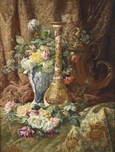 花瓶花朵油画装饰画