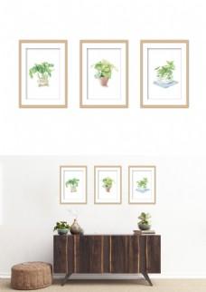 现代小清新植物盆栽简约装饰画