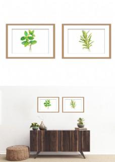 小清新装饰画现代简约水彩绿叶