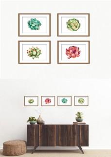 现代小清新森系多肉绿色装饰画