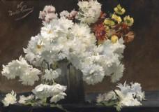 白色菊花装饰画素材