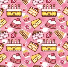 卡通蛋糕四方连续底纹
