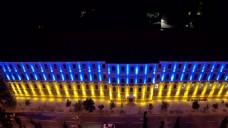 航拍酒店灯光马路视频