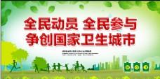 文明城市海报绿色清新共建城市宣传展板设计