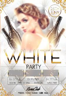 金色花纹高档酒吧女士之夜派对活动海报