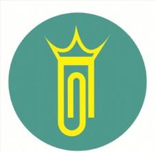 女王皇冠回形针logo设计