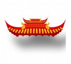 手绘中国风屋顶元素