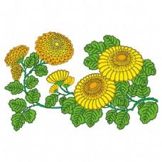 手绘绿叶向日葵元素