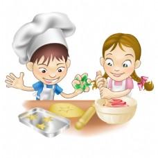 手绘小厨师做饭元素