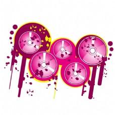 手绘粉色磁带元素