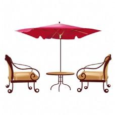 手绘遮阳伞沙发元素