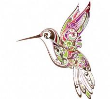 手绘花纹小鸟元素