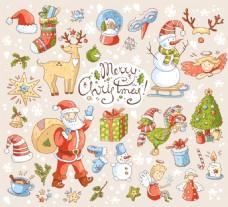 温馨背景卡通圣诞节矢量背景元素