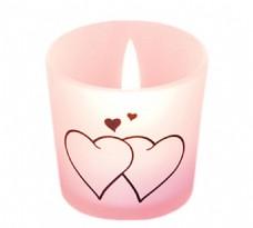 手绘心形蜡烛元素