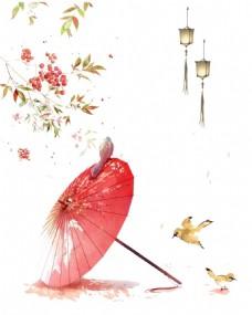 手绘油纸伞黄鹂元素