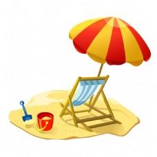 手绘沙滩玩耍元素