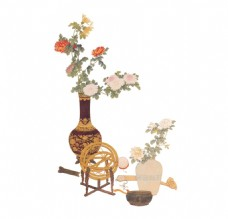 手绘花瓶花朵元素