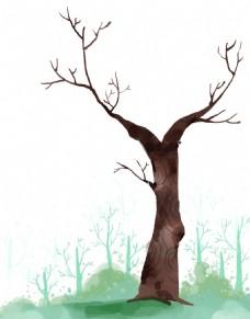 手绘油画大树元素