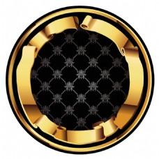 手绘金边圆形元素