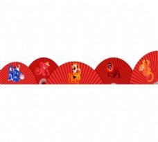 手绘中国风折扇元素