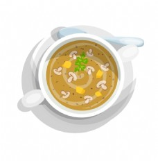 手绘菌菇汤元素