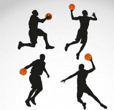 4款篮球剪影矢量