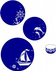 海洋系列陶瓷餐具套装矢量素材