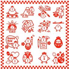 中国风剪纸红色线条小鸡矢量素材