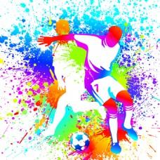 泼墨水彩踢足球矢量素材