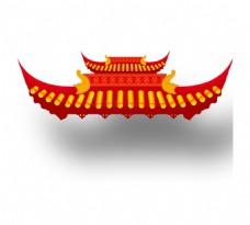 手绘中式屋顶元素