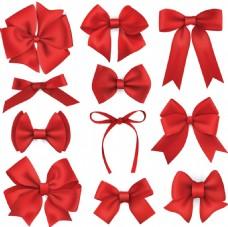 多种红色蝴蝶结矢量装饰素材