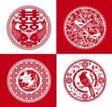 红色剪纸中国式花纹矢量素材
