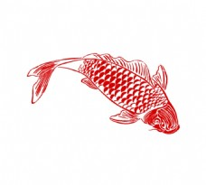 手绘线条金鱼元素