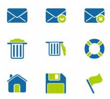 垃圾箱旗帜蓝色小图标