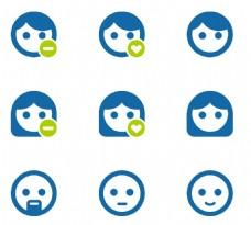 女性头像表情蓝色小图标