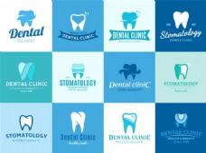 蓝色商务牙齿矢量图标元素