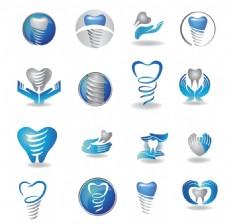 圆形图标牙齿蓝色健康宣传海报背景
