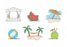 夏天沙滩图标矢量素材
