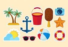 沙滩度假旅游矢量素材