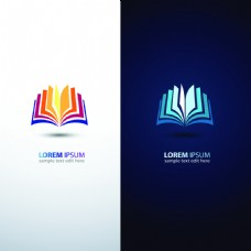 翻开的书本彩色书籍icon矢量