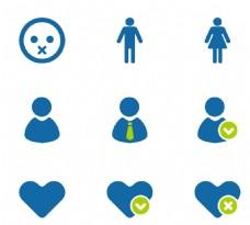 爱心女性头像蓝色小图标