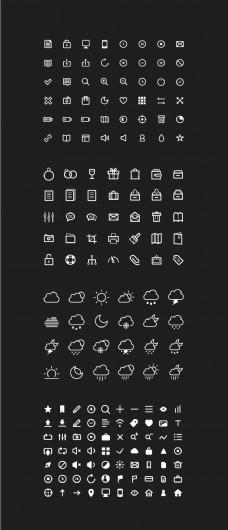 简单黑色背景白色天气图标