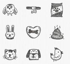 动物兔子小猫小狗图标矢量