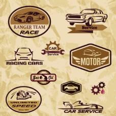 咖啡色复古汽车图标海报矢量素材