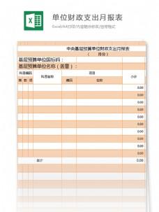 预算单位财政支出月报表excel模板表格